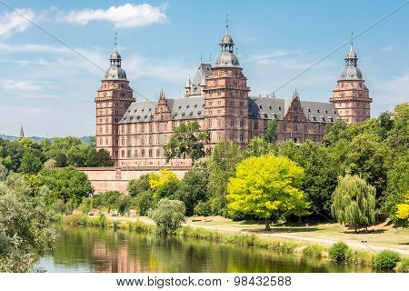 View on castle Johannisburg Aschaffenburg Germany