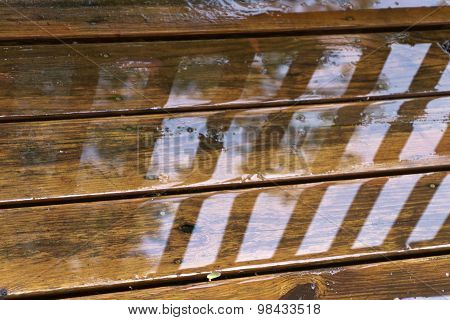 Wet Deck Boards Close Up