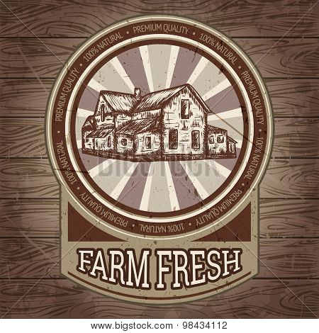 organic farm vintage poster with farmhouse on the background texture of wooden boards. Retro hand dr