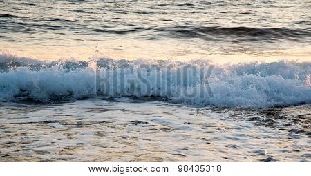 Sea Waves Late In The Evening