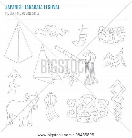 Set of Japanese Bon Festival attributes in modern mono li