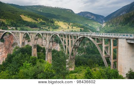 Durdevica arched Tara Bridge over green Tara Canyon - Montenegro.