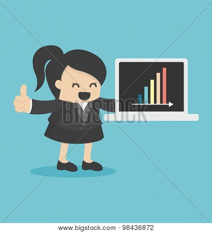 Business Woman Showing Laptop Computer In Office Show Graph