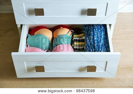 Underwear in wooden chest of drawer, close up