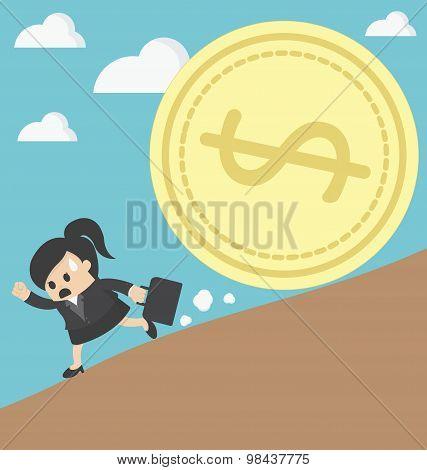 Business Woman Run Money Trap