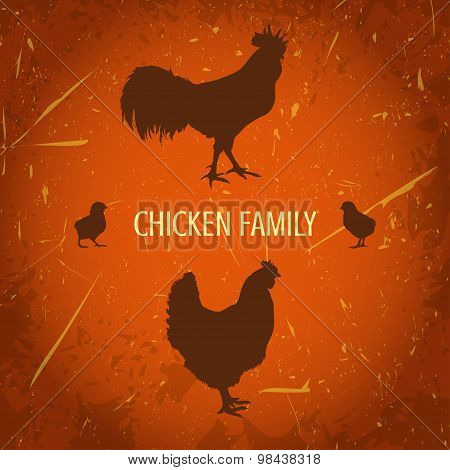 organic farm vintage poster with silhouettes family chicken: cock, hen with chickens.