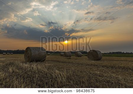 Sheaves of hay in the glow of the sunrise