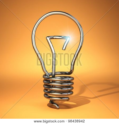 Idea concept. Abstract light bulb silhouette. 3d