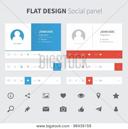 Vector Social Panel In Flat Design
