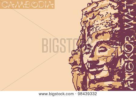 Bayon Temple Faces At Angkor Temple. Cambodia. Vector Illustration