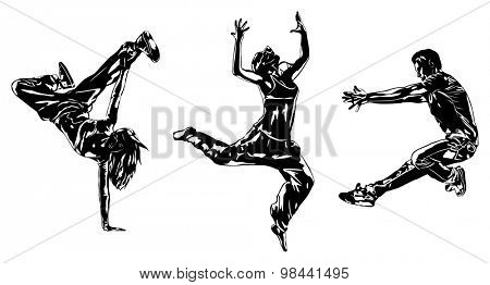 Three modern dancers silhouettes on white.