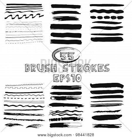 Vector set of hand drawn grunge brush strokes