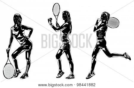 Tennis player women silhouettes.