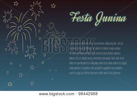 Hand drawing Festa Junina fireworks on night time background wit