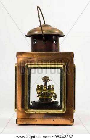 a rustic vintage style kerosene lantern