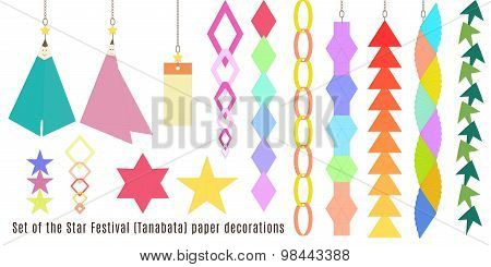 Set of the Star Festival, Tanabata paper decorations.