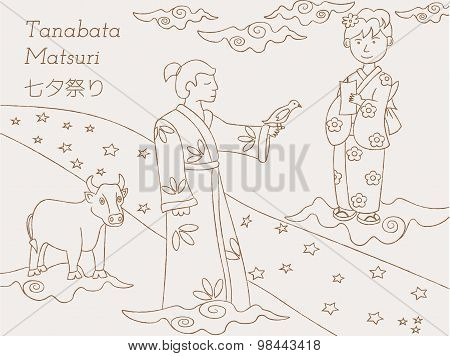 Tanabata legend. Milky Way, couple and cow. Japanese folklore.