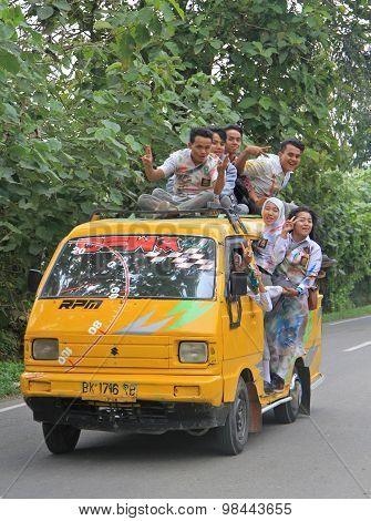 crazy indonesian students are going to celebrate the finishing of school