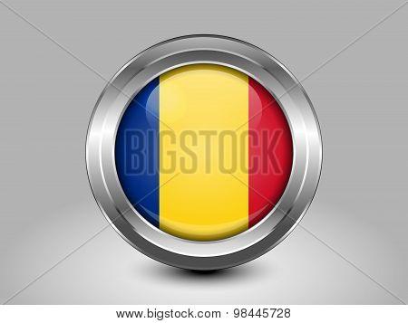 Flag Of Romania. Metal Round Icon