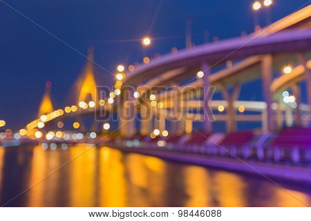 Abstract blurred bokeh, city road curved and suspension bridge