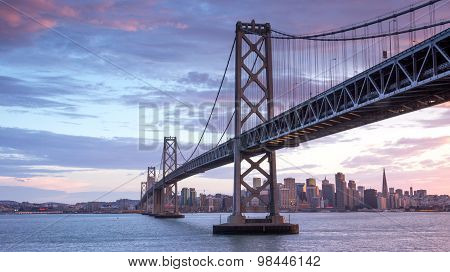Sunset over Bay Bridge and San Francisco Skyline, California