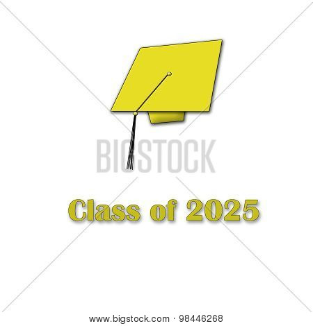 Class of 2025 Yellow on White Single Large
