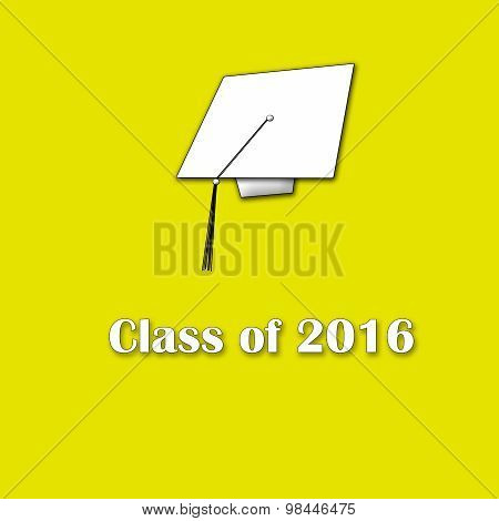 Class of 2016 White on Yellow Single Large