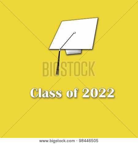 Class of 2022 White on Yellow Single Large