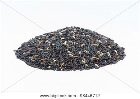 Organic rice seed on white