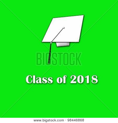 Class of 2018 White on Green Single Large