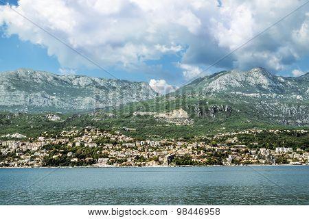 City Herceg  Novi In Kotor Bay, View From The Sea