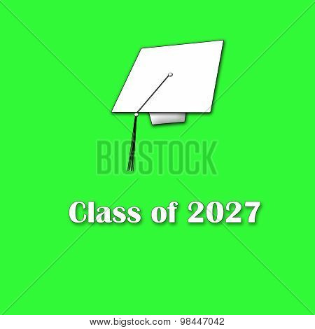 Class of 2027 White on Green Single Large