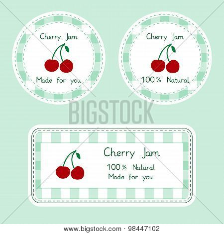 Fruit collection for design. Labels for homemade natural cherry jam in green and red color
