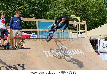 Bmx Rider Performs A Leap Into Ramp, Palanga, Lithuania