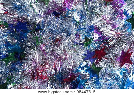 Silver With Colors Tinsel Background