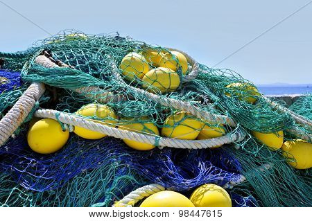 Large Amount Of Fishing Ropes Interlaced And Messy In Work Tools Concept