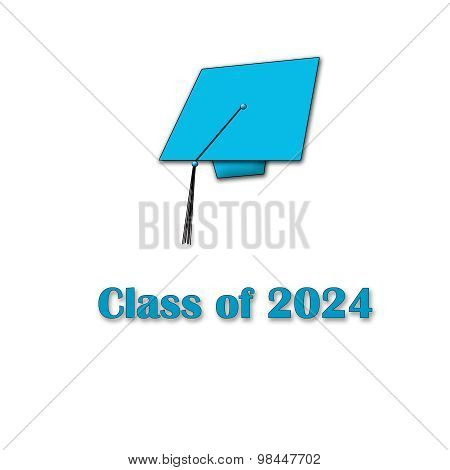 Class of 2024 Blue on White Single Large