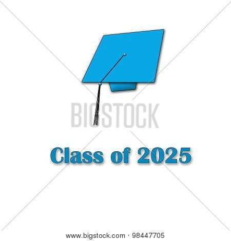 Class of 2025 Blue on White Single Large
