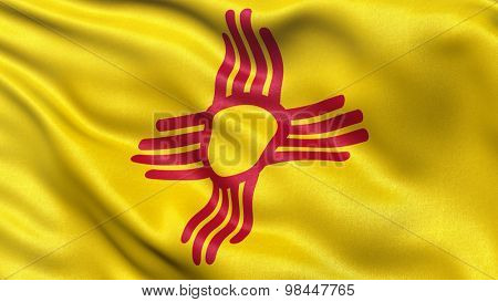 US state flag of New Mexico with great detail waving in the wind.