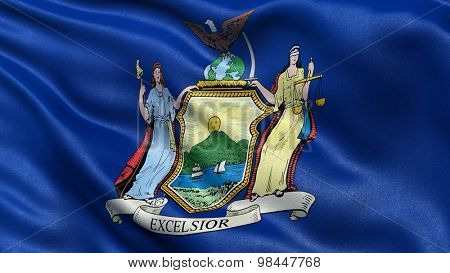 US state flag of New York with great detail waving in the wind.