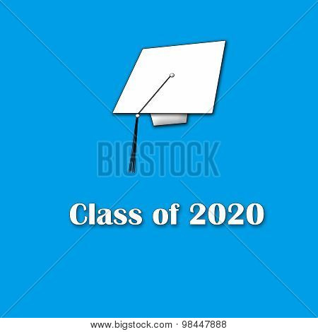 Class of 2020 White on Blue Single Large