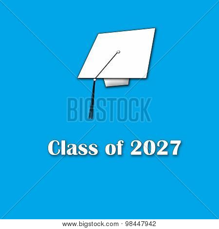 Class of 2027 White on Blue Single Large