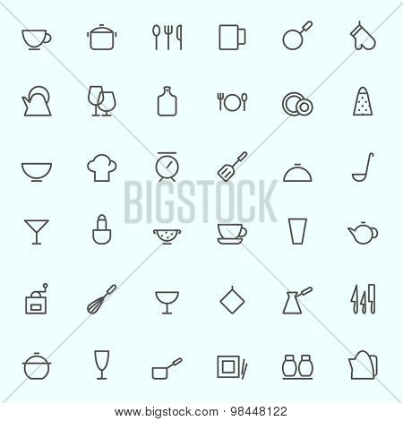 Kitchen utensils icons, simple and thin line design
