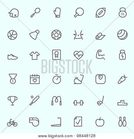 Sport and fitness icons, simple and thin line design
