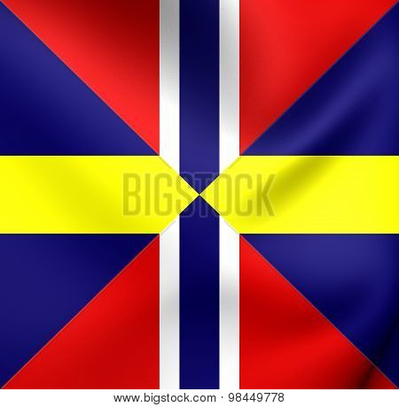 Union Naval Jack And Diplomatic Flag Of Sweden And Norway