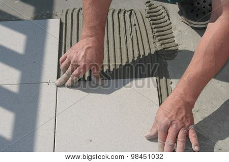 Work with grout