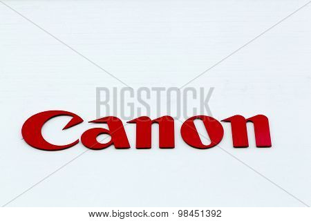 Canon logo on a facade