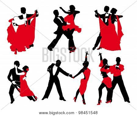 Vector Set Of Red And Black Couples