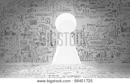 Business plan sketch on wall with key hole