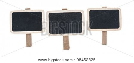 Wooden information label on white background